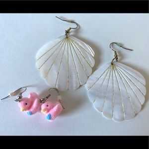 Jewelry - Set of 2 Chandelier Earrings, Shells & Fuzzy Ducks